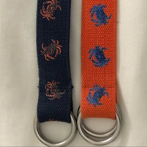 Two Polo Ralph Lauren d ring canvas belts
